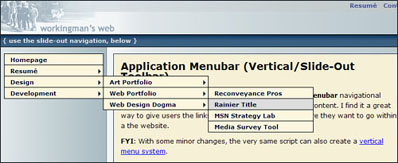 Screen-shot of the Toolbar System
